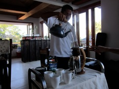 Ranier making us fresh Costa Rican coffee.
