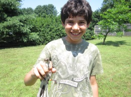 My son, Aidan with the banded mockingbird, 2013